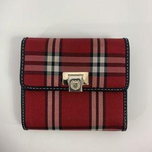 Liz Claiborne Red Plaid Trifold Wallet